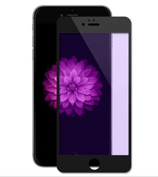 ฟิล์มกระจก 3D แสงม่วงเป็นมิตรต่อดวงตา ฟิล์มแบบเต็มจอ (สีดำ) สำหรับ Iphone 6/6s