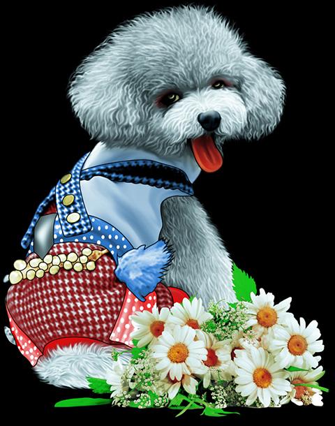 ลายสกรีนฮาฟโทนแนวสุนัข