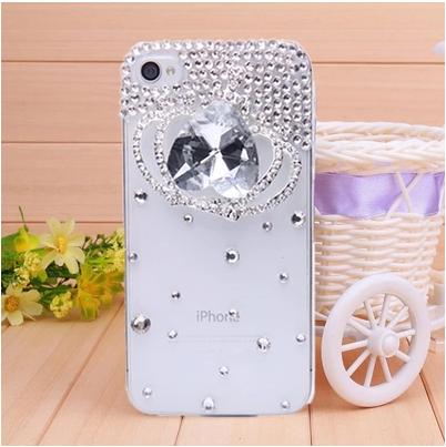 เคสไอโฟน 4/4s (Case Iphone 4/4s) เคสไอโฟนกรอบโปร่งใสประดับเพชรและคริสตัลขาวรูปมงกุฏ