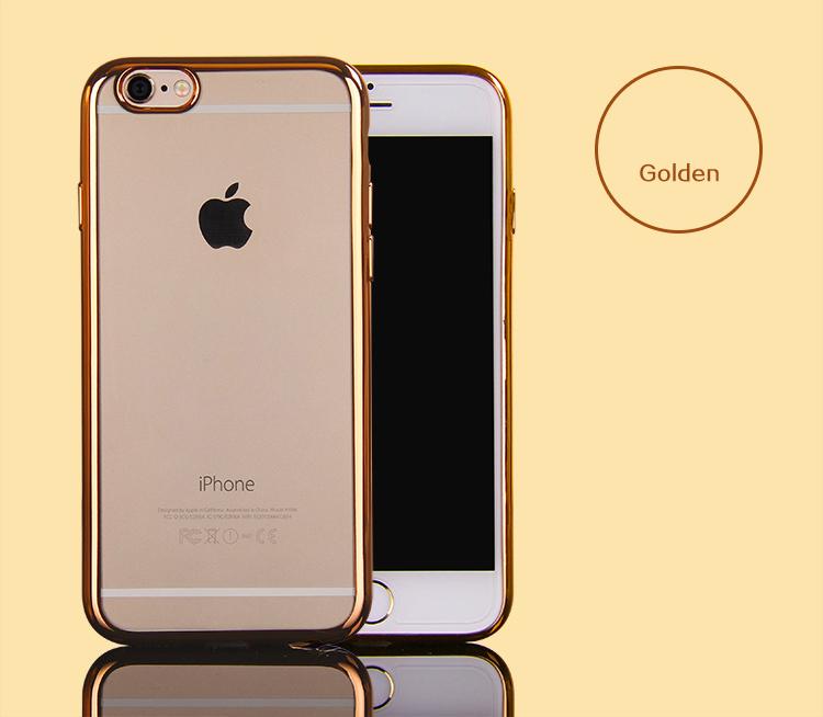 เคสไอโฟน 6Plus/6sPlus (TPU CASE) เคสนิ่มกรอบใสขอบทอง