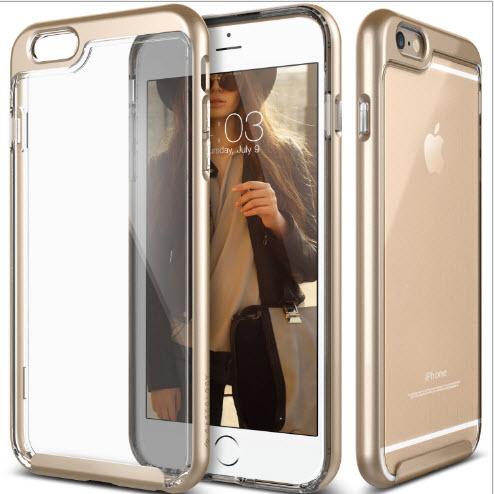 เคสไอโฟน 7 (TPU + PC ) ขอบสีชมพูทอง หลังใส