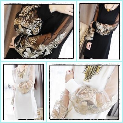 เดรสสั้นแขนยาว สวยหรู กับแฟชั่นเรียบหรู แขนเสื้อแบบซีทรู ตกแต่งด้วยลูกไม้สีทอง