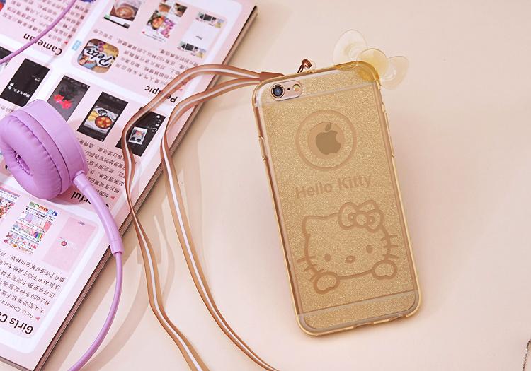 เคสไอโฟน 6Plus/6sPlus (TPU CASE) Hello Kitty พร้อมสายคล้องคอ สีทอง