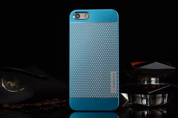 เคสไอโฟน 6 Plus / 6s Plus เคสไอโฟน Hard Case Motomo กรอบอลูมิเนียมเกาหลีลายจุด สีฟ้า
