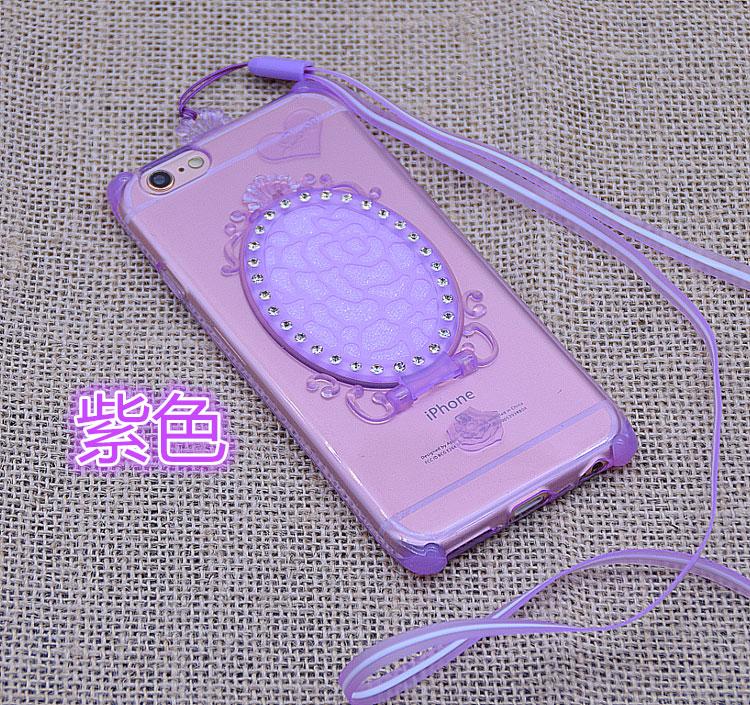 Case iphone 6 Plus / 6s Plus (TPU Case ) สีม่วงประดับกระจกเจ้าหญิงพร้อมสายคล้องคอ