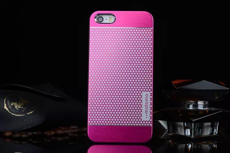 เคสไอโฟน 6 Plus / 6s Plus เคสไอโฟน Hard Case Motomo กรอบอลูมิเนียมเกาหลีลายจุด สีชมพูเข้ม