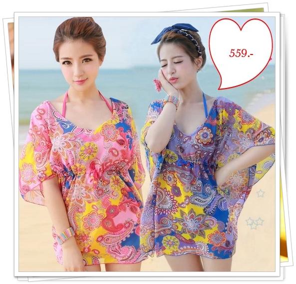 Pre Order ชุดว่ายน้ำแฟชั่นเกาหลี โดดเด่นด้วยสีสันและลวดลาย มาพร้อมเสื้อคลุมผ้าพริ้วไหวในชุด