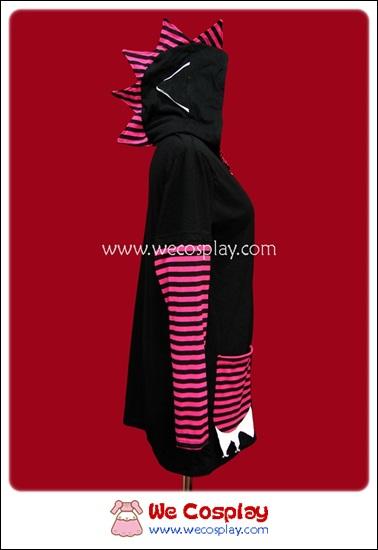 เดรสแจ๊คเก็ตพังค์ มีฮู้ดหัวก็อตซิลล่า Punk Long-Sleeved Jacket Dress สีชมพูดำ