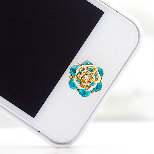 ปุ่มโฮมไอโฟนประดับเพชร ดอกกุหลาบสีฟ้า
