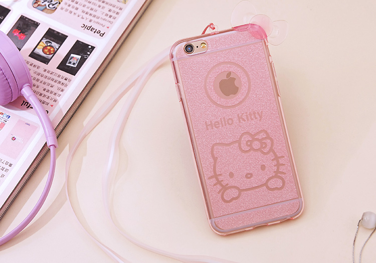 เคสไอโฟน 6Plus/6sPlus (TPU CASE) Hello Kitty พร้อมสายคล้องคอ สีชมพู