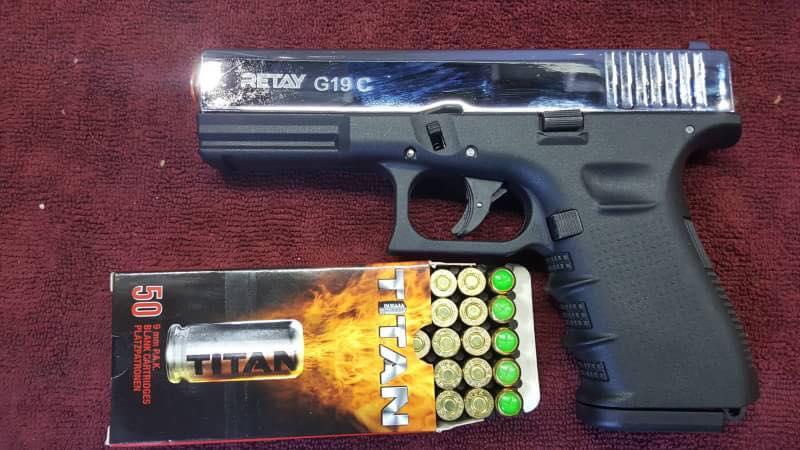 Retay G19 Nickel Front Firing 9mm.PAK. Blank gun