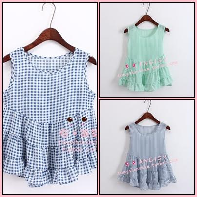 เสื้อแฟชั่นเกาหลีแขนกุด ลายสก็อตเล็กๆ ชายบานๆ สไตล์ตุ๊กตา เบาสบาย ด้วยผ้าชีฟอง SET1