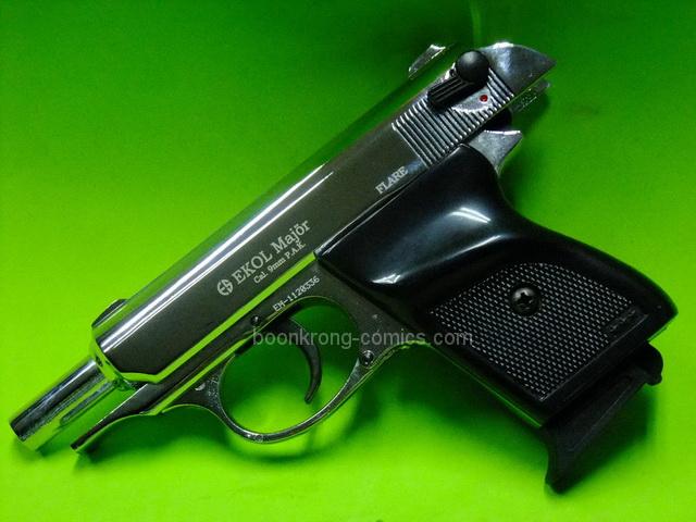 Ekol Major Walther PPK Chrome (สีเงิน ) cal.9mm.PAK. Blank gun