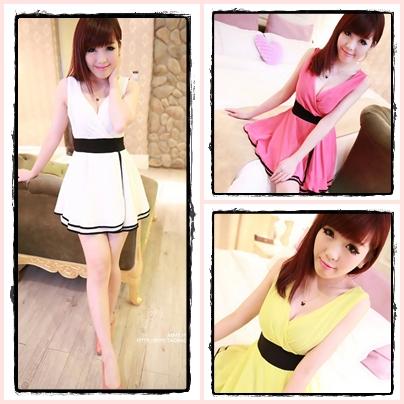 เดรสสั้นเกาหลี แขนกุด เว้าคอเสื้อสุดเซ็กซี่ มีให้เลือกถึง 3 เฉดสี ให้คุณได้เลือก