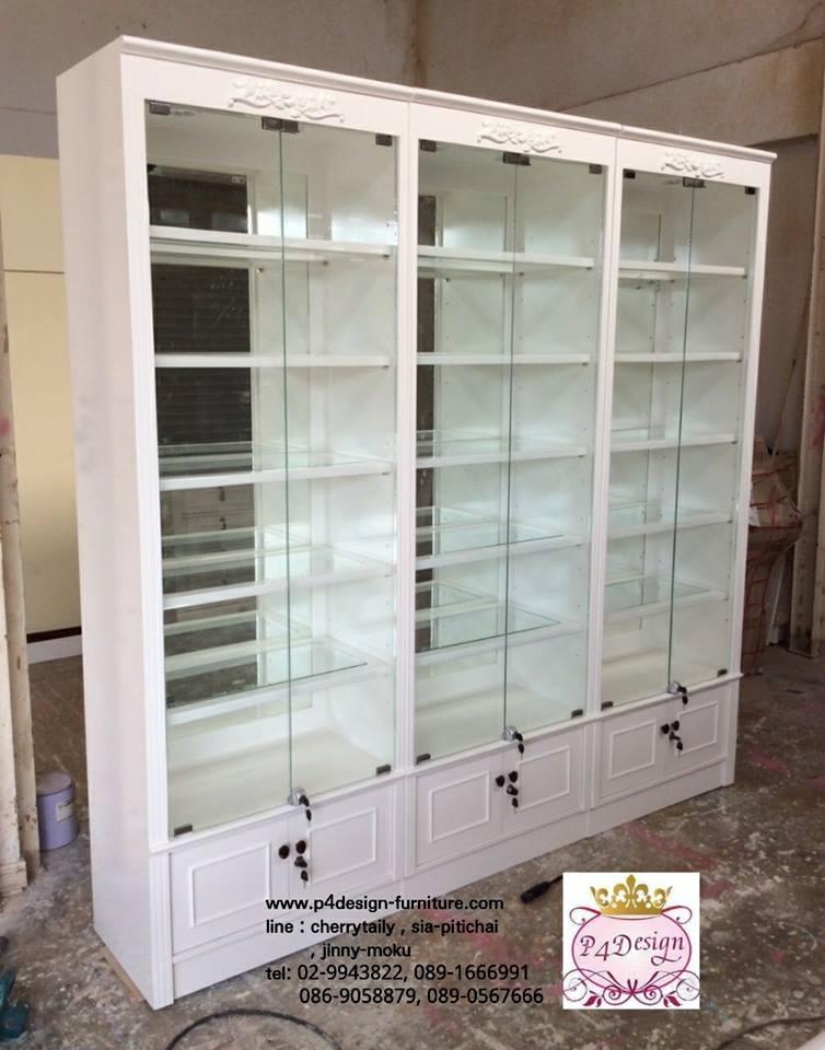 ตู้โชวชั้นวางหลังกระจกเงา วินเทจสีขาว สำหรับบ้านเเละร้านค้า