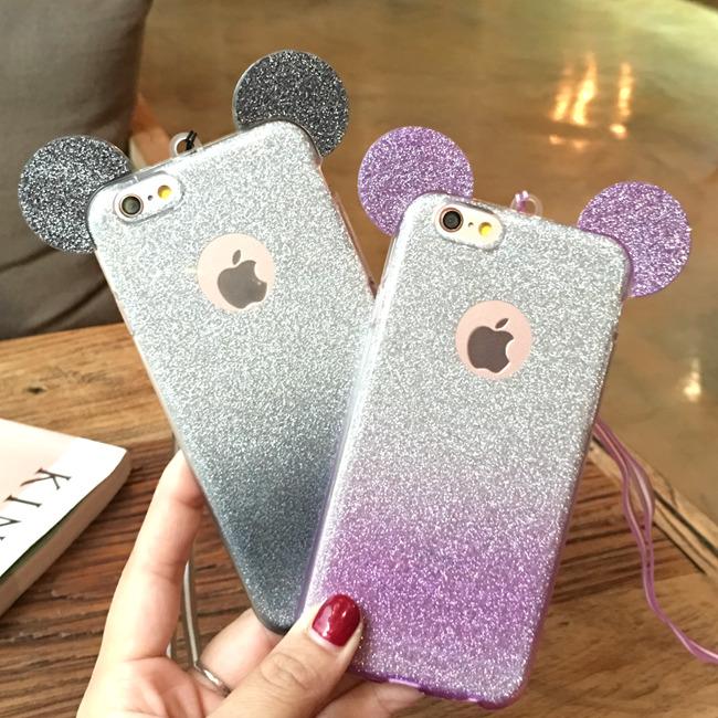 Case iphone 6 Plus / 6s Plus (TPU Case กากเพชร ) Mickey พร้อมสายคล้องคอ สีเงินม่วง (ภาพขวา)