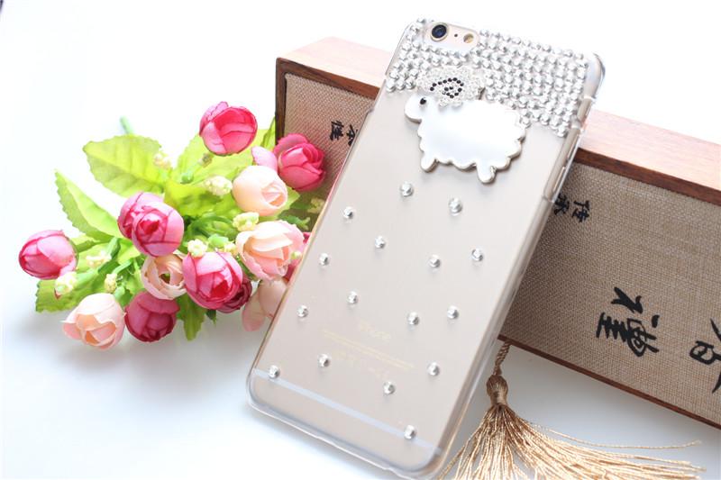 เคสไอโฟน 6 Plus / 6s Plus (Hard Case ) กรอบใส ประดับเพชรและแกะน้อย