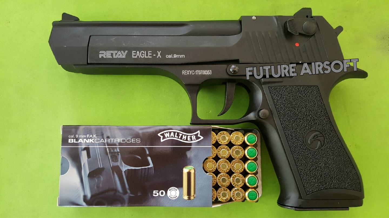 Retay Desert Eagle De.50 Satin Black 9mm P.A.K. Blank Gun Gen.2