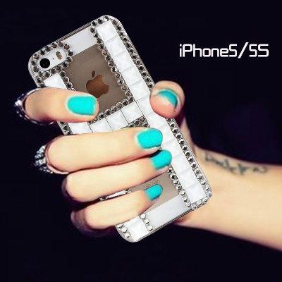 ้เคสไอโฟน 5/5s/SE เคสไอโฟนกรอบใสประดับเพชรและคริสตัลสีขาวรูปตัว H
