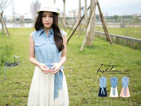 Tokyo pop splicing denim hundred เดรสสั้นมีปกผ้าชิฟฟ่อน เก๋ด้วยชายเสื้อผูกโบว์คาดเอว