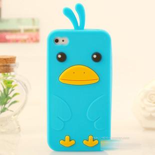 เคสไอโฟน 4/4s (ซิลิโคน) เป็ดน้อยน่ารัก สีฟ้า