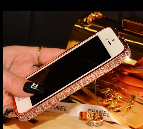 เคสไอโฟน 6 Plus /6s Plus (Bumber case ) กรอบสีทองชมพูฝังเพชรไอโซ