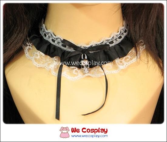 เซ็ตโชคเกอร์ สร้อยข้อมือโกธิคโลลิต้า สีขาวดำ Gothic Lolita Choker and Cuffs Set