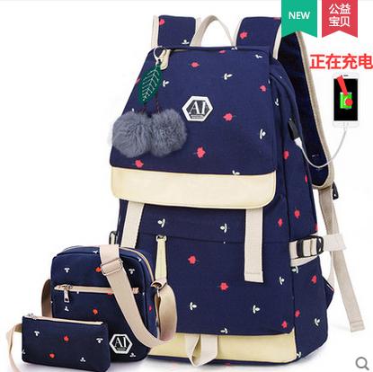 กระเป๋าเป้แฟชั่น ลายสวย มีช่องต่อ usb ที่กำลังฮิตในขณะนี้