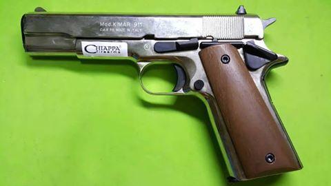 ปืนแบงค์กันส์ Kimar Colt 1911/911 Nickel 9mm.PAK. Blank gun.