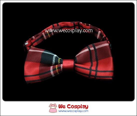 โบว์หูกระต่ายสำเร็จรูป ลายสก๊อต สีดำแดง สำหรับสวมคู่กับชุดสูททักซิโด้