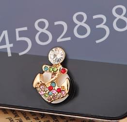 ปุ่มโฮมไอโฟนประดับเพชรหลากสี รูปสมอเรือ