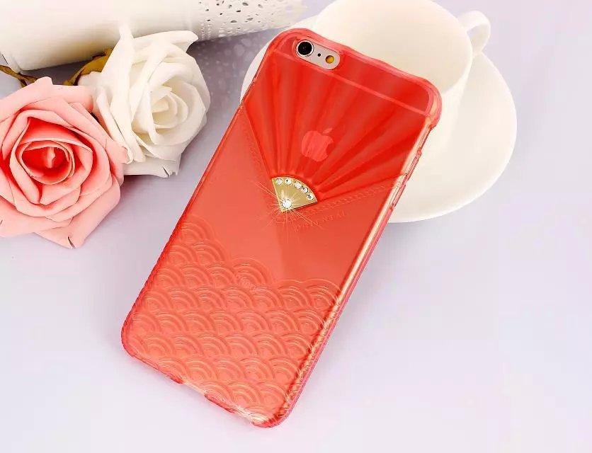 เคสไอโฟน 6 Plus / 6s Plus (TPU case หักบิดงอได้) สีแดงใส ประดับเพชรเรียบหรู