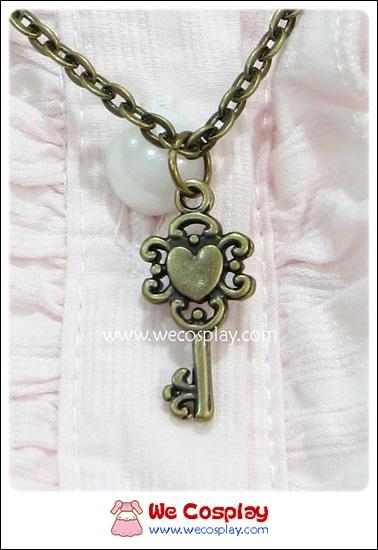 สร้อยคอโกธิคโลลิต้า จี้กุญแจหัวใจ สไตล์วินเทจ สีทองโบราณ Gothic Lolita Necklace