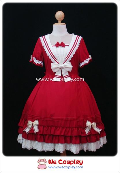 เดรสโลลิต้าสวีทเซเลอร์สีแดง (Sweet Sailor Lolita Dress)