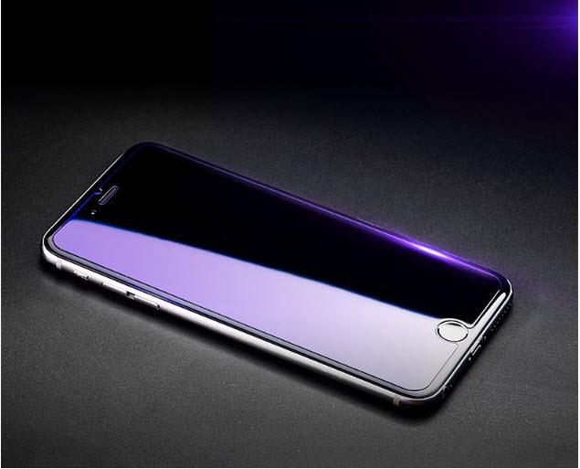 ฟิล์มกระจก(จอม่วง ถนอมสายตา) Iphone 6/6s แกร่ง 9H (ฟิล์มไม่เต็มจอ ไม่ดันเคสทุกชนิด)