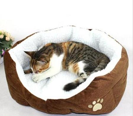 เบาะนอนสุนัขและแมวสีน้ำตาล