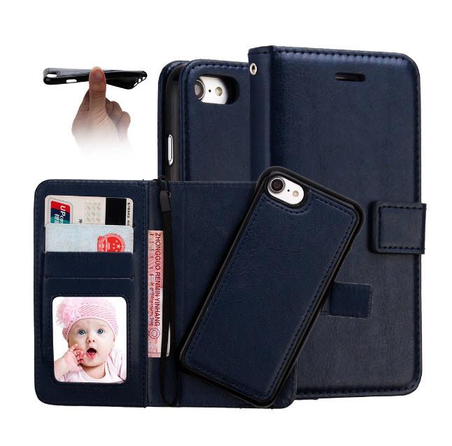 เคส 2IN 1 (เคสไอโฟน+กระเป๋า) ถอดแยกได้ สีน้ำเงิน Iphone 7