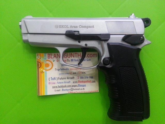 Ekol Browing (Ares Compact) Nickel Front Firing 9mm.PAK Blank Gun