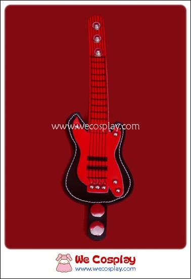 สร้อยข้อมือพังค์ Punk Wristband รูปกีต้าร์สีดำแดง ตอกหมุดเงิน