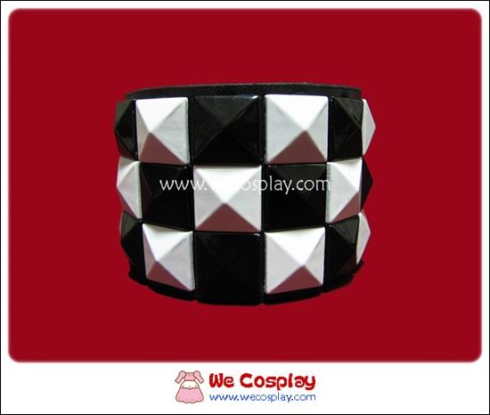 สร้อยข้อมือพังค์ Punk Wristband ตอกหมุด 3 แถว สีขาวดำ