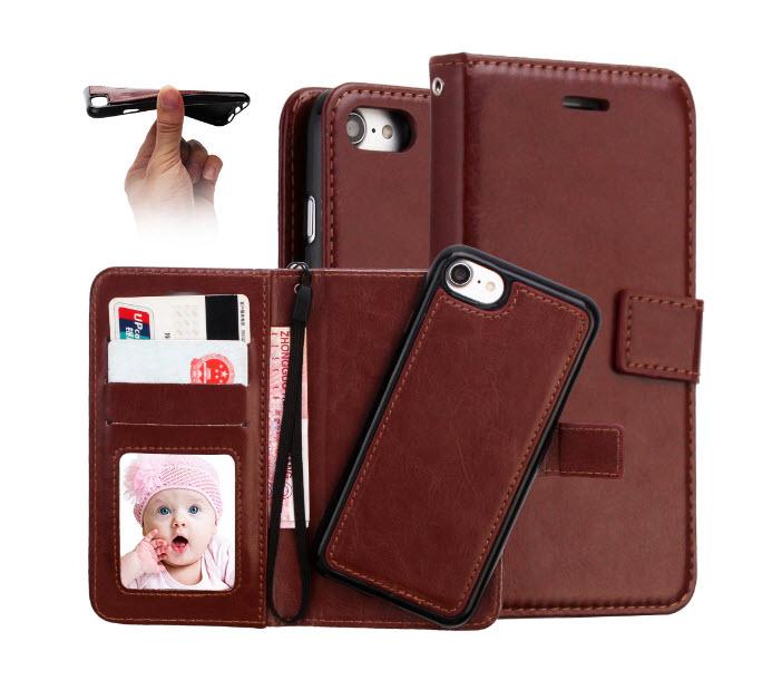 เคส 2IN 1 (เคสไอโฟน+กระเป๋า) ถอดแยกได้ สีน้ำตาล Iphone 7