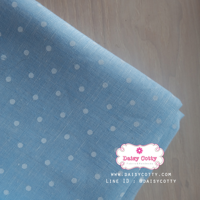 ผ้าลินิน 1/4 เมตร (50x65 cm.) สีฟ้าลายจุดสีขาว