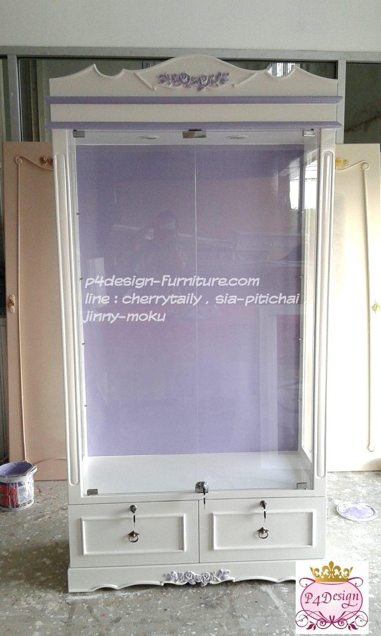 ตู้โชว์กระจกใสวินเทจสีขาวสำหรับร้านค้า