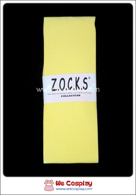 ถุงเท้าโกธิคโลลิต้า ยาวเหนือเข่า สีเหลือง เนื้อเนียนเหมือนถุงน่อง