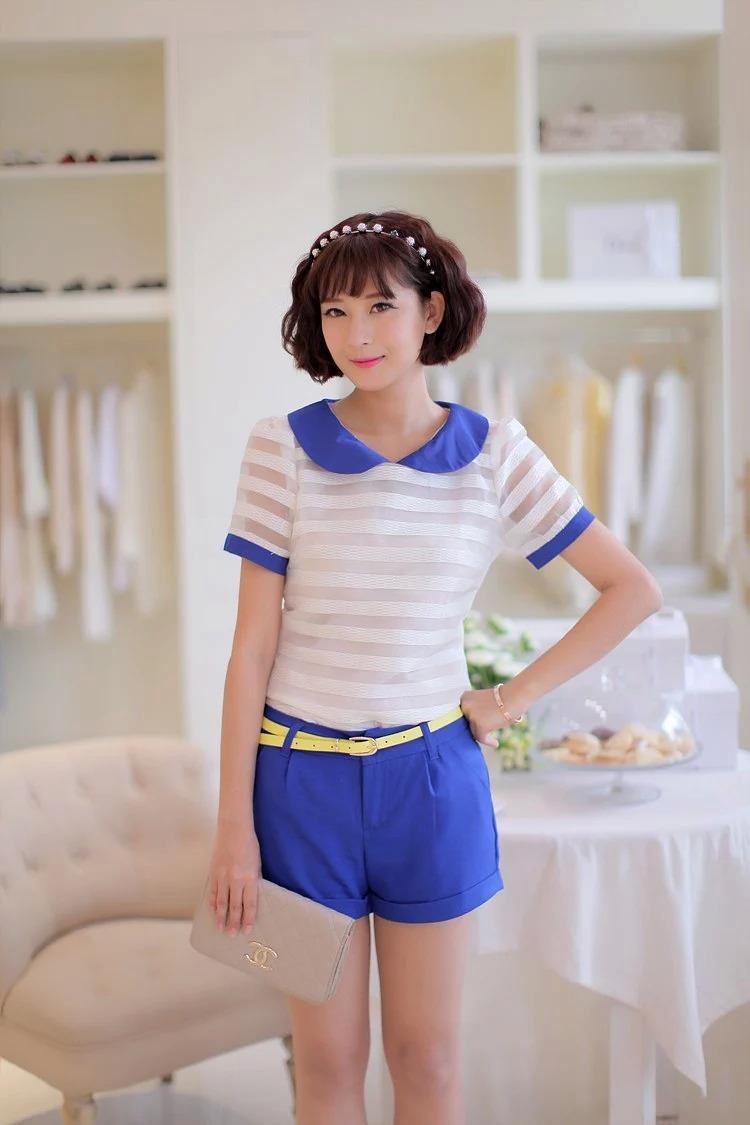 เสื้อแฟชั่นเกาหลีแขนตุ๊กตาี เก๋ๆ ด้วยลายขวาง สลับกับผ้าชีฟองแบบซีทรู น่ารักแบบสาวๆ วัยใส