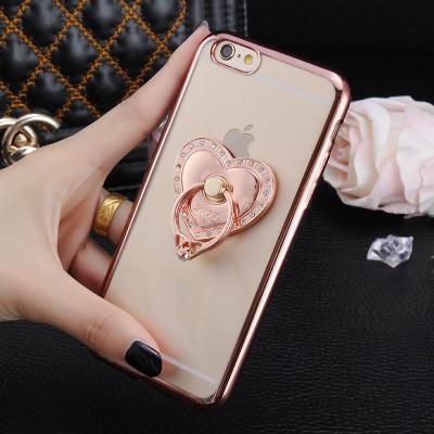 Case iphone 6 Plus / 6s Plus (TPU Case ) สี Rose Gold พร้อมห่วงโซ่หัวใจฝังเพชร