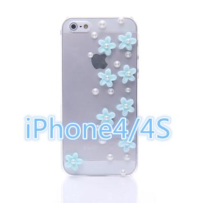 เคสไอโฟน 4/4s กรอบใสประดับมุกและดอกไม้สีฟ้า