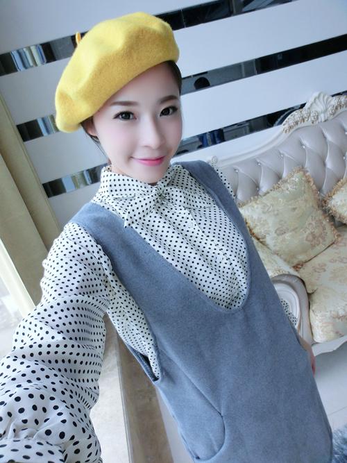 เดรสสั้นเกาหลีใหม่ ต้อนรับหน้าหนาวด้วยเดรสแขนยาวที่มาพร้อมกับเสื้อกั๊กกระโปรง