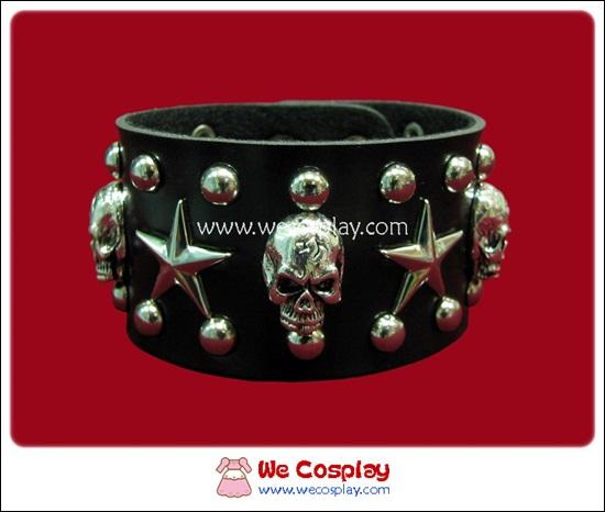 สร้อยข้อมือพังค์ Punk Wristband ตอกหมุดเงินกลม ดาว และหัวกะโหลก 3 แถว
