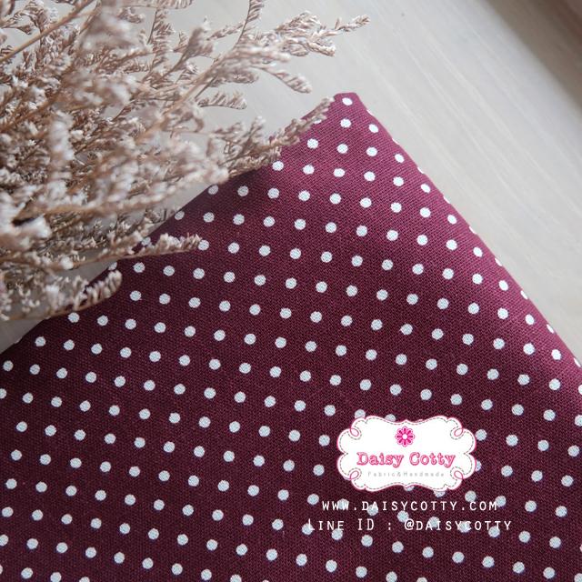 ผ้าคอตตอนลินิน 100% 1/4 เมตร พื้นสีม่วงเปลือกมังคุด ลายจุดเล็กสีขาว